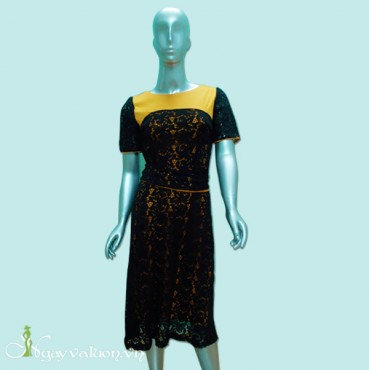 Đầm Đen Dạ Hội Phối Ren
